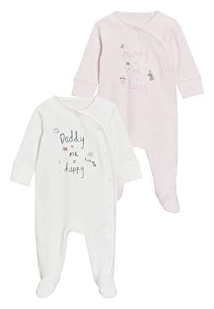 next Bebé-Niñas Pack De Dos Pijamas Tipo Pelele con Texto Mummy Y Daddy (