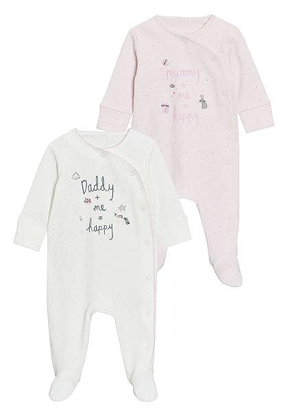 4216607d01 next Bebé-Niñas Pack De Dos Pijamas Tipo Pelele con Texto Mummy Y Daddy (