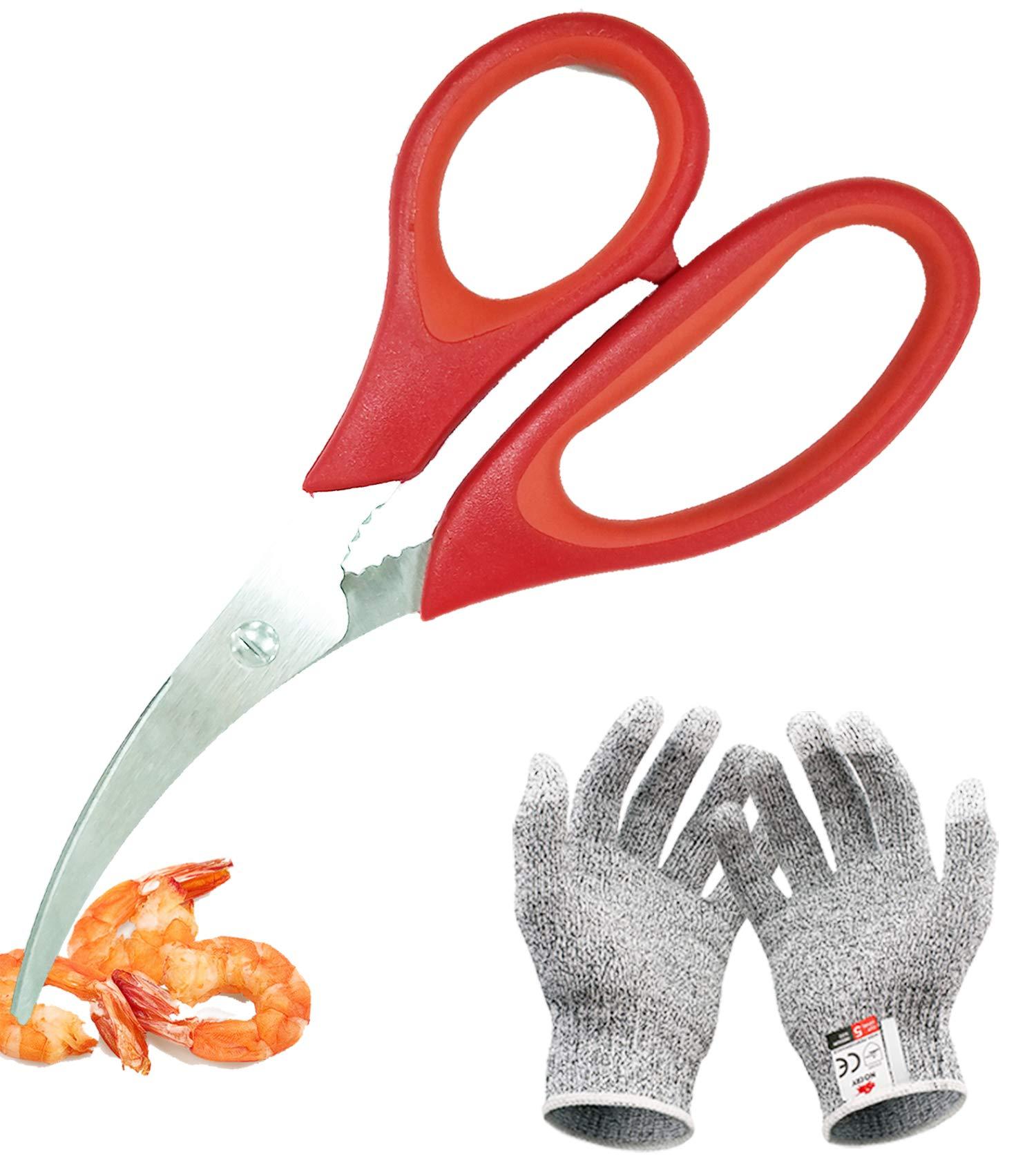 ArtiGifts Shrimp Cleaner Set with Shrimp Deveiner Scissor & Cut Resistant Gloves - Multipurpose Seafood and Prown Peeler Tool, Level 5 Protection Kitchen Gloves Included