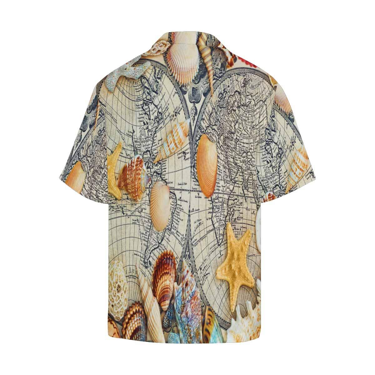 InterestPrint Comfortably Collared Sea Shells Casual Shirts V-Neck Short Sleeve Beach Top