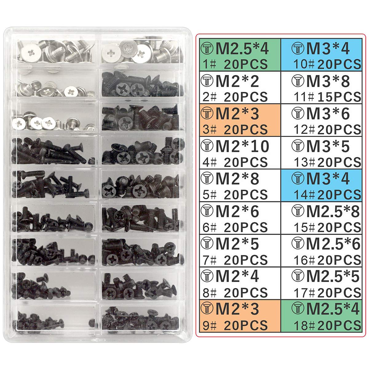Akuoly Laptop Screw Set PC M2 M3 M2.5 Screw Standoffs for Universal Laptops and Hard Drive Disk M.2 SSD, 355 Pieces