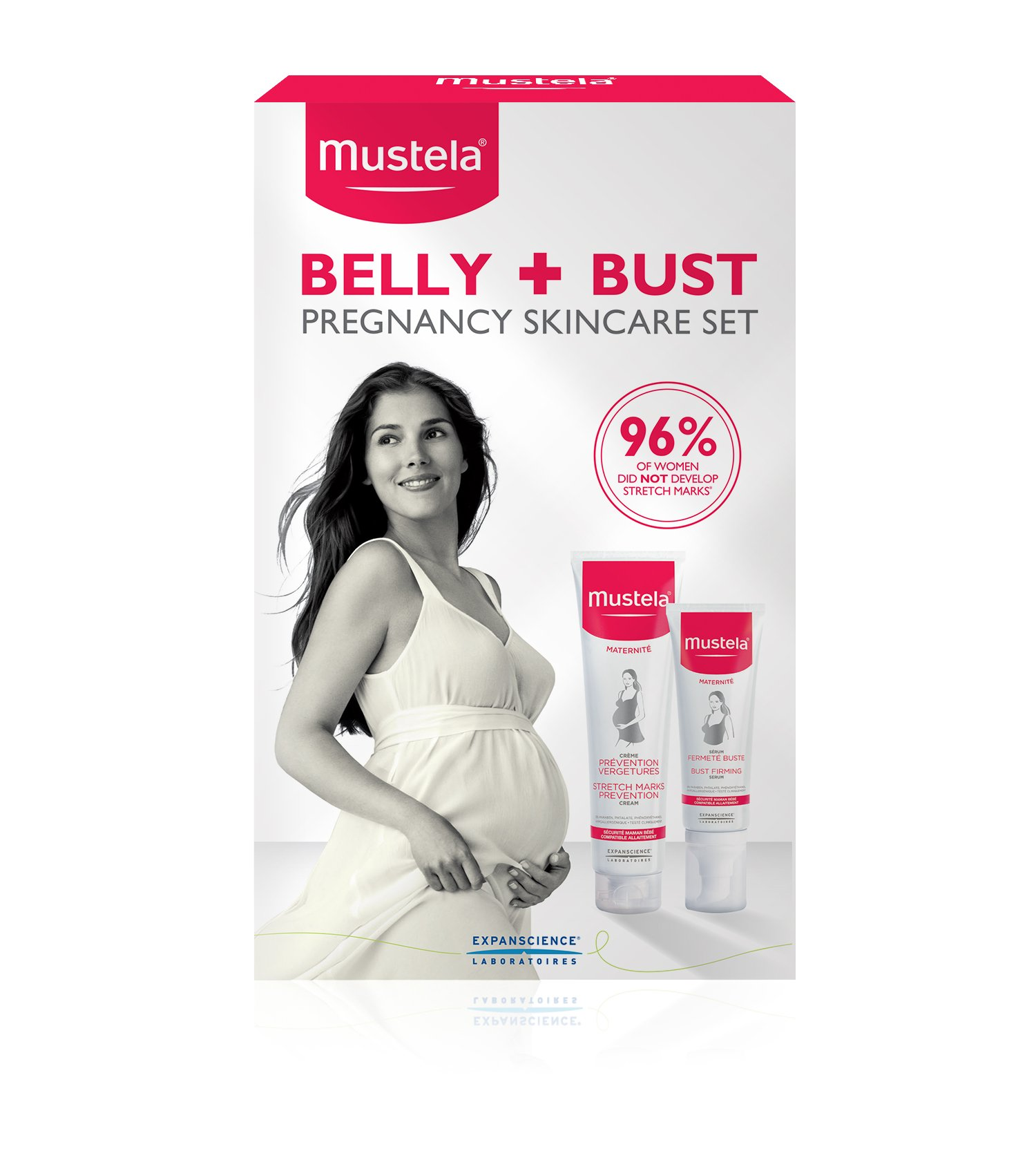 Mustela Belly and Bust Set, Pregnancy and Postpartum Skincare Set with Bust Firming Serum and Stretch Mark Prevention Cream, Hypoallergenic, 2 Items