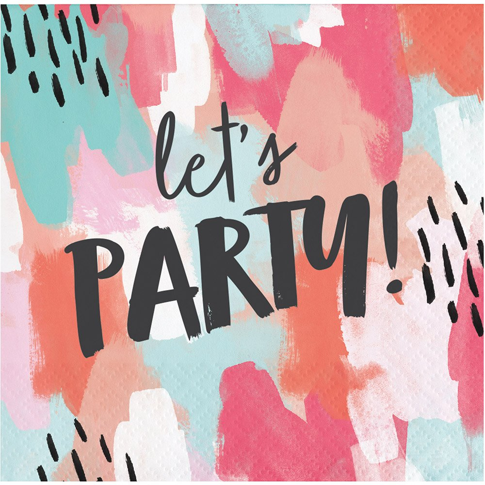Elise 330007 Brush Strokes Pattern 3-Ply Beverage Paper Napkins Lets Party