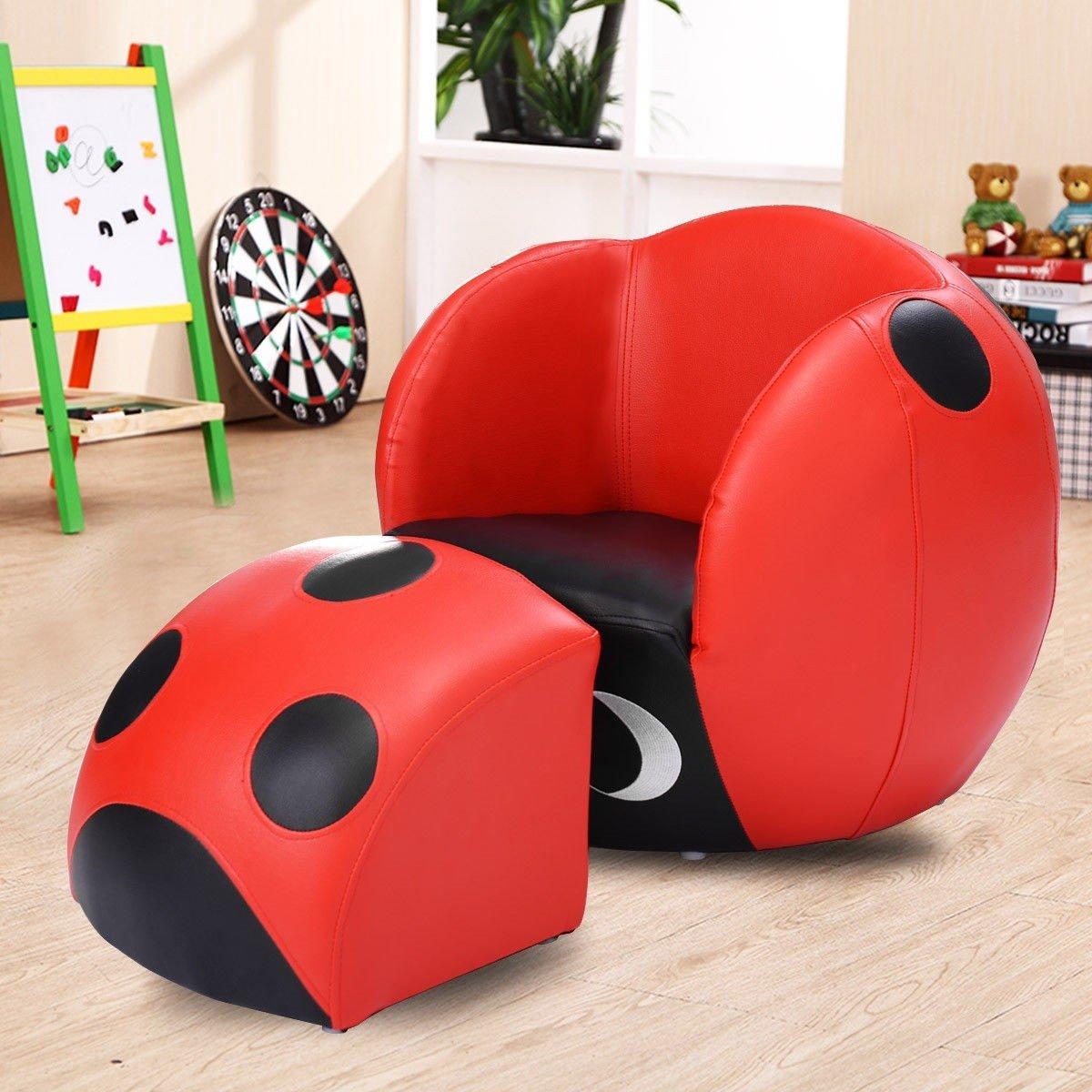 GentleShower Kids Ladybug Sofa Chair with Ottoman for Child's Bedroom Playroom, Space-saving Kids Chair with Footstool Single Seat Sofa