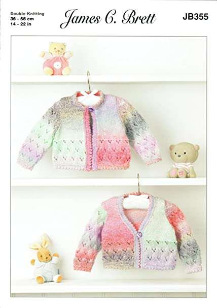 35354184d James C Brett JB355 Knitting Pattern Baby Cardigans in Baby Marble DK   Amazon.co.uk  Kitchen   Home
