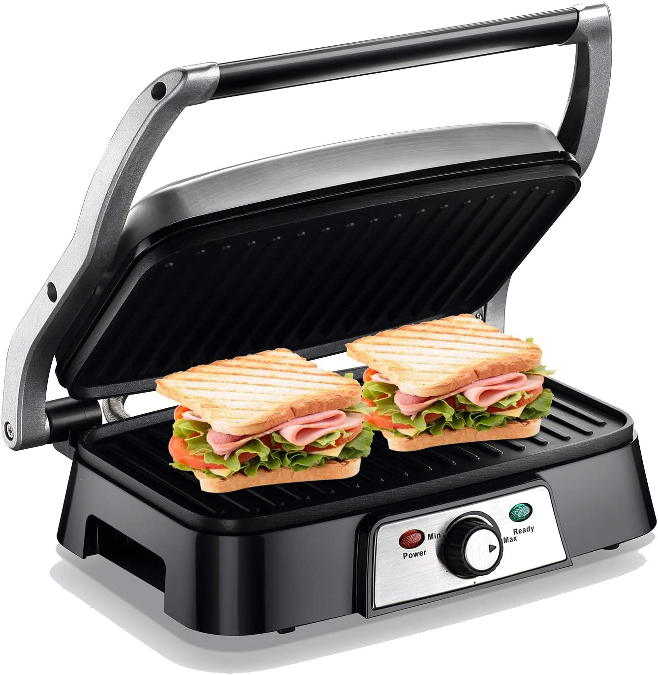 Panini Maker 4 Slice Panini Press Grill, Non-stick Sandwich Maker with Removable Drip Tray and Temperature Control 1200W, Opens 180 Degrees for Sandwich, Steaks, Grilled fish