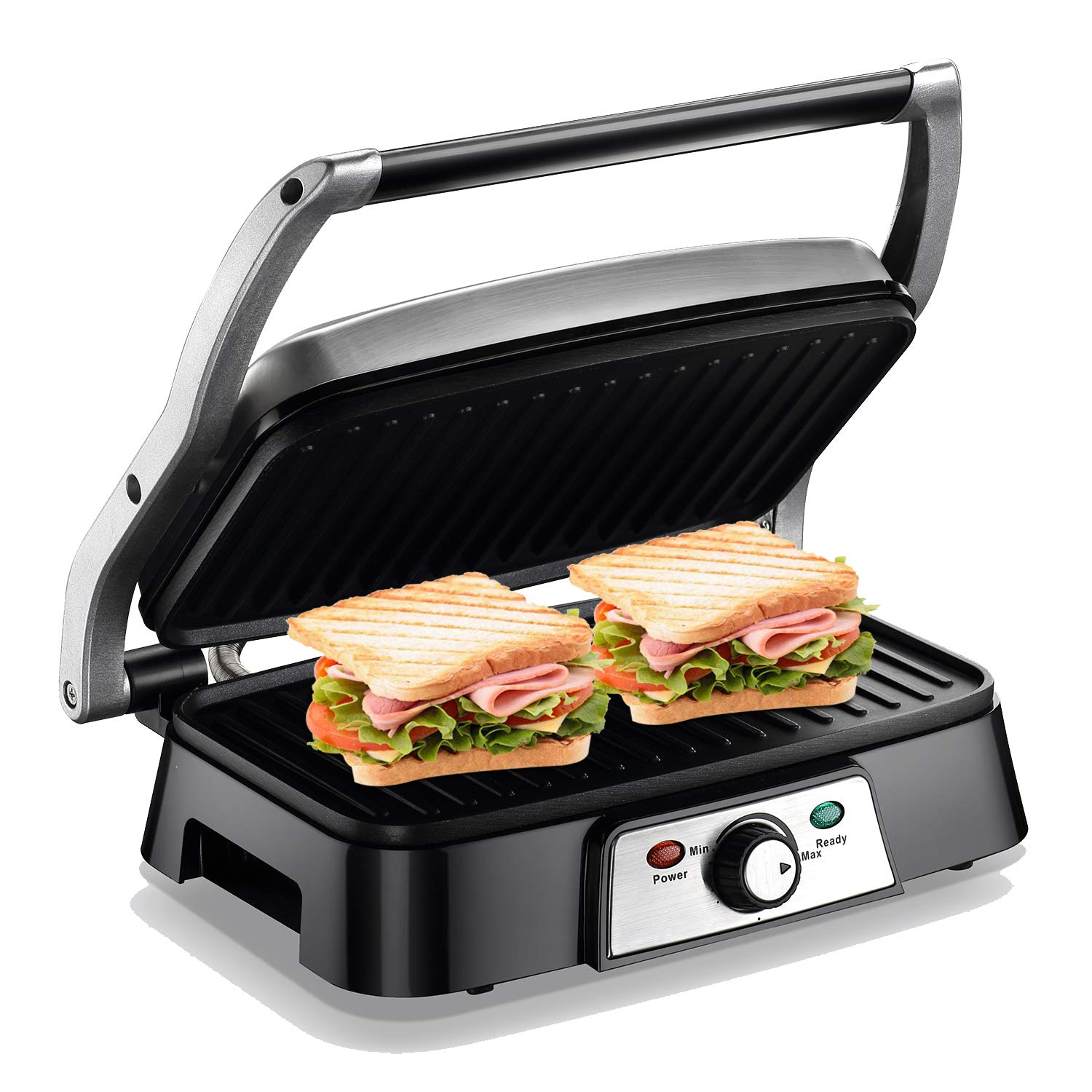 Panini Maker 4 Slice Panini Press Grill, Non-stick Sandwich Maker with Removable Drip Tray and Temperature Control 1200W, Opens 180 Degrees for Sandwich, Steaks, Grilled fish by Homeleader