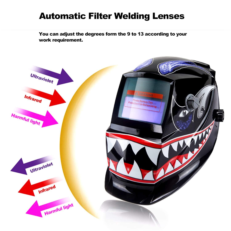 Holulo Solar Power Auto Darkening Welding Helmet Wide Viewing Field Welder Hood for MIG TIG ARC Cap Mask Shark mouth