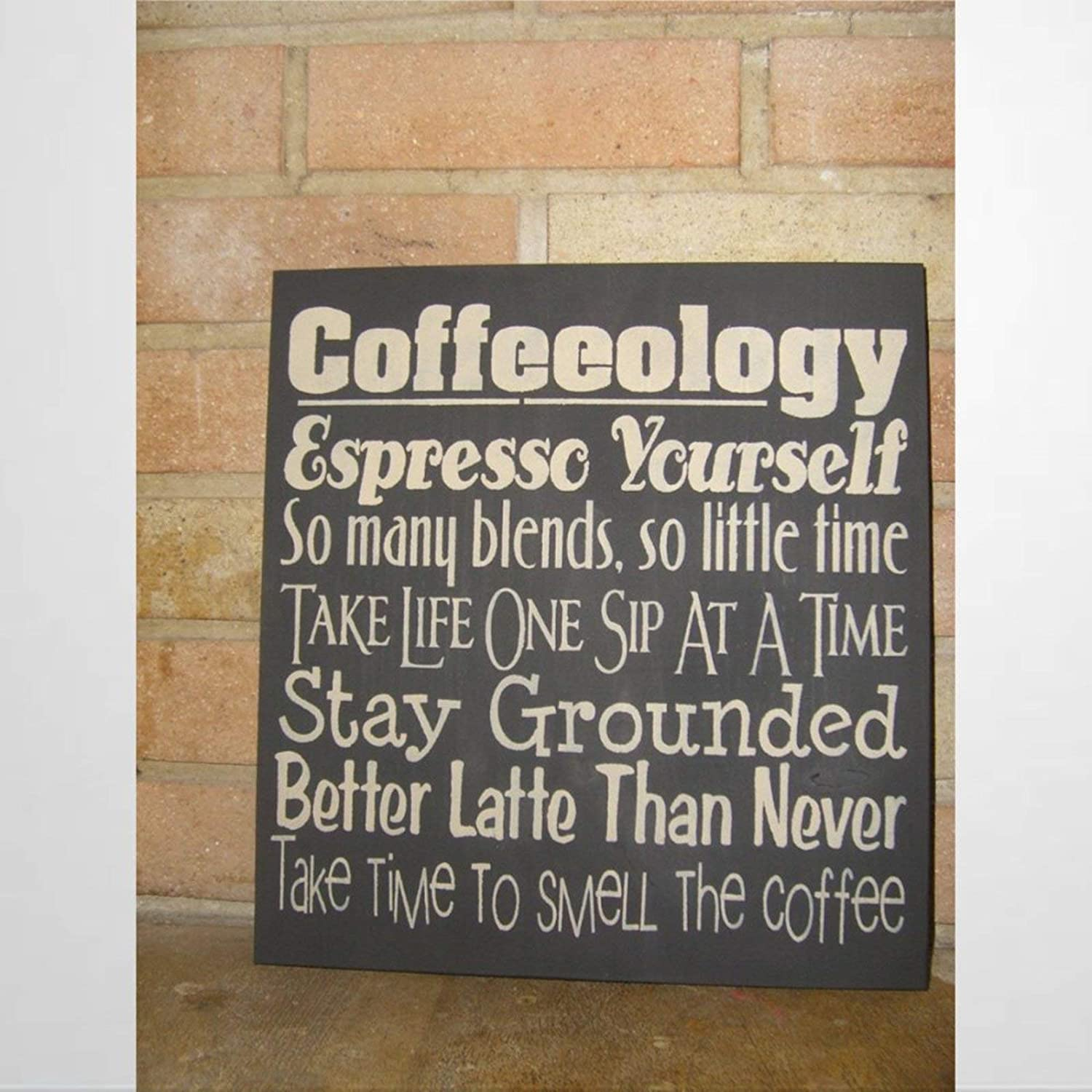 BYRON HOYLE Coffee Sign Coffeology Espresso Yourself Kitchen Sign Wood Plaque Wall Art Wall Hanger Home Decor