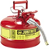 "Justrite 7225120 AccuFlow 2.5 Gallon, 11.75"" OD x 12"" H Galvanized Steel Type II Red Safety Can With 5/8"" Flexible Spout"