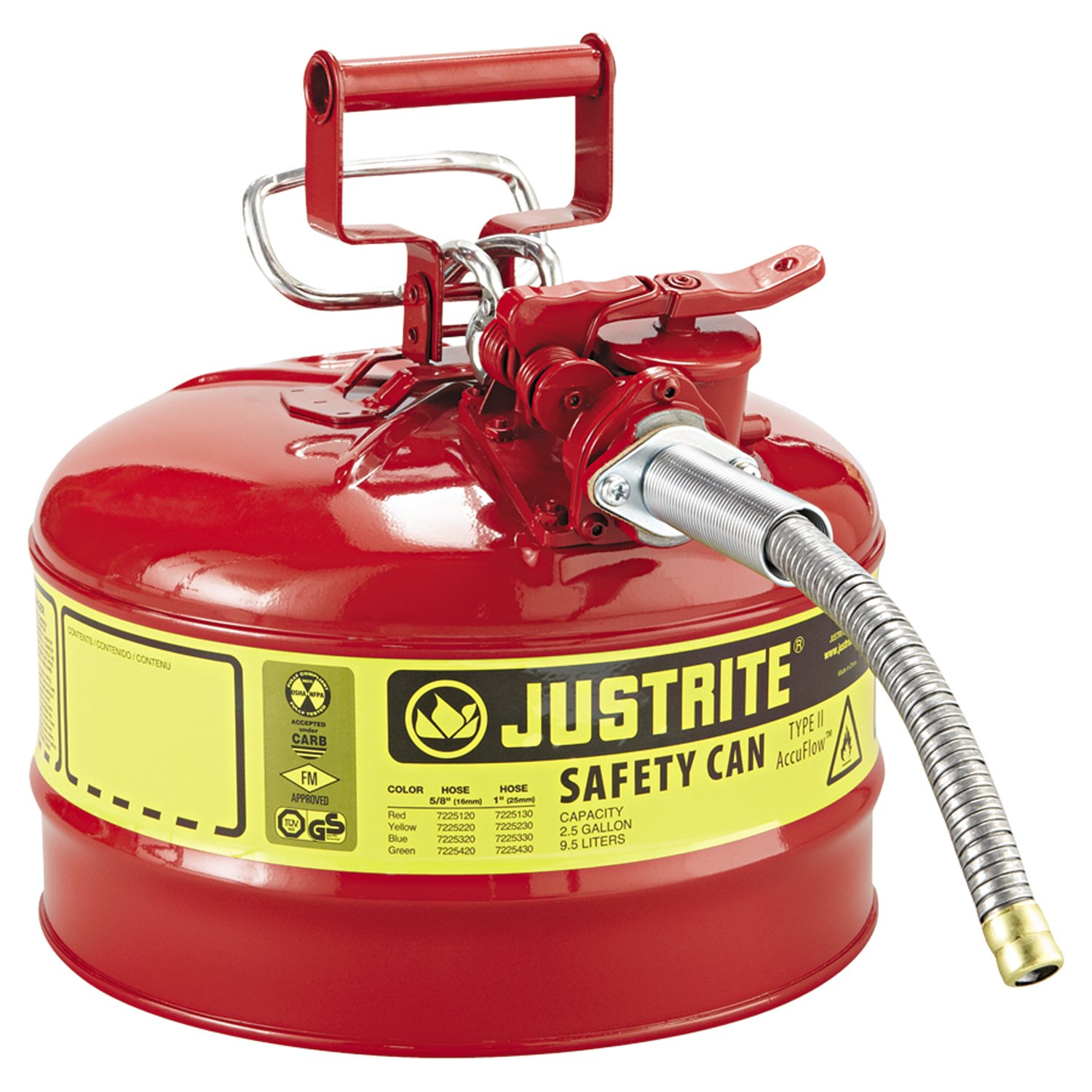 """Justrite 7225120 AccuFlow 2.5 Gallon, 11.75"""" OD x 12"""" H Galvanized Steel Type II Red Safety Can With 5/8"""" Flexible Spout: Lawn And Garden Tool Gas Cans: Industrial & Scientific"""