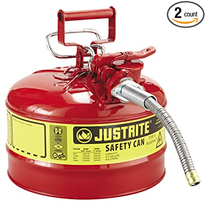 11.75 in OD x 17.50 in H Galvanized Steel Type II Red Safety Can with 5/8 in Flexible Spout Hazardous Storage Equipment Justrite 7250120 AccuFlow 2.5 Gallon