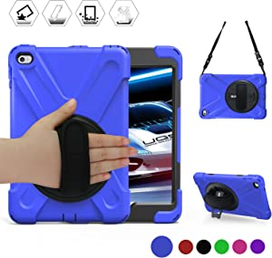 BRAECN iPad Mini4 & 5 Shockpoof Case,Three Layer Drop Protection Rugged Heavy Duty iPad Mini 5th Gen Case with 360 Degree Swivel Stand/Hand Strap/Shoulder Strap for iPad Mini4 Case for Kids(Blue)