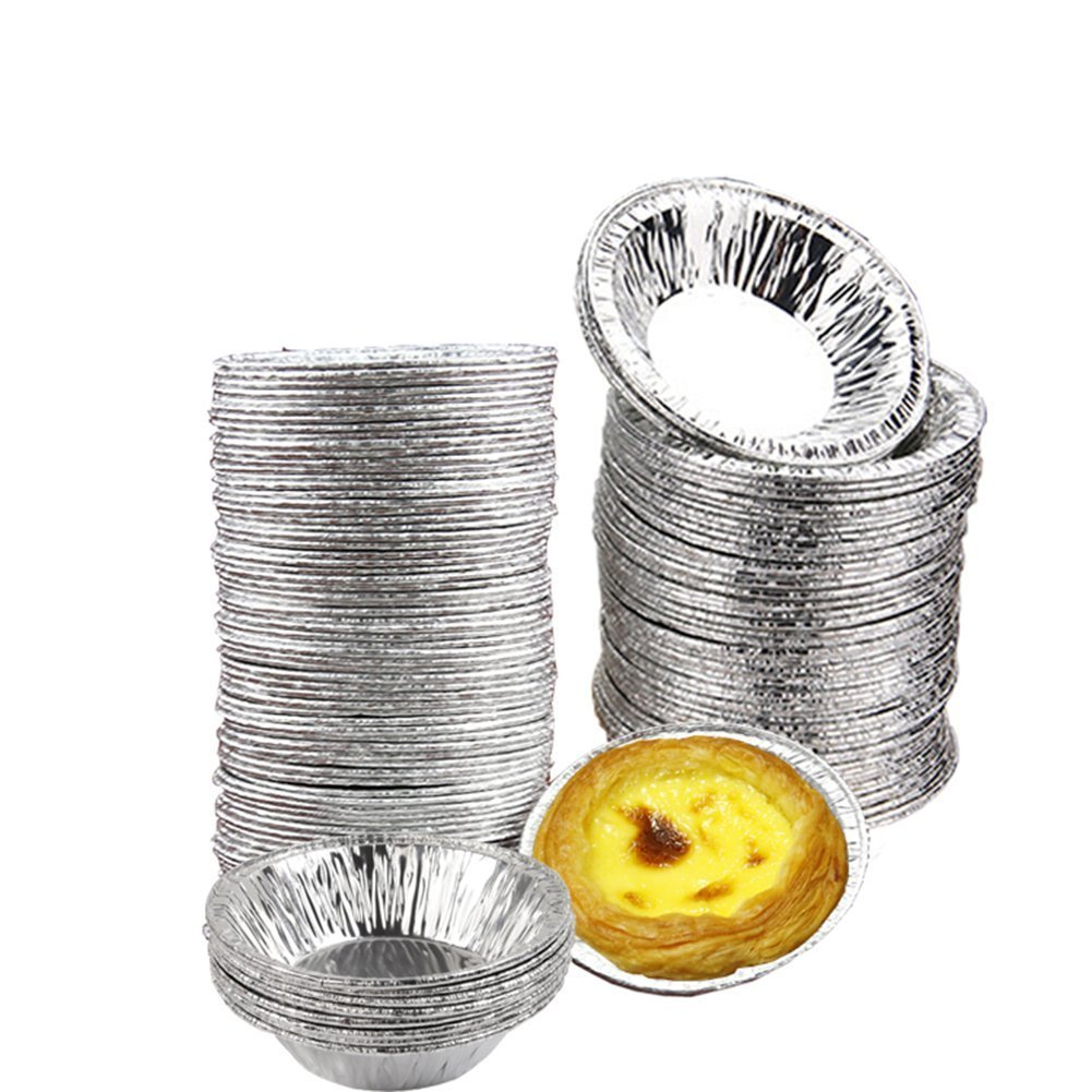 Ciaoed 50 PCS Disposable Aluminum Foil Cups Baking Baking Muffin Cupcake Tin Mold Round Egg Tart Cans Mold Ciaoed65654865