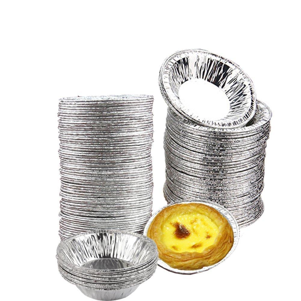 Ciaoed 50 pcs Foil Trays Muffin Cases,Foil Bun Cases Tin Foil Trays,Foil Pie Trays Cake/Cake Tins,Mini Egg Tart Cases,Small Foil Pie Dishes Custard Tart Foils,Pastry Dish Aluminium Mold Cups.