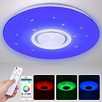 Lámpara LED de Techo con Altavoz Bluetooth 24W, Luces de Techo de Intensidad…