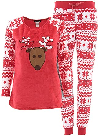 em and alfie juniors red reindeer christmas plush pajamas l at amazon womens clothing store