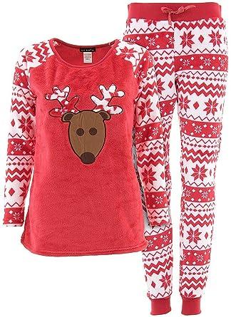 em and alfie juniors red reindeer christmas plush pajamas l at amazon womens clothing store - Juniors Christmas Pajamas