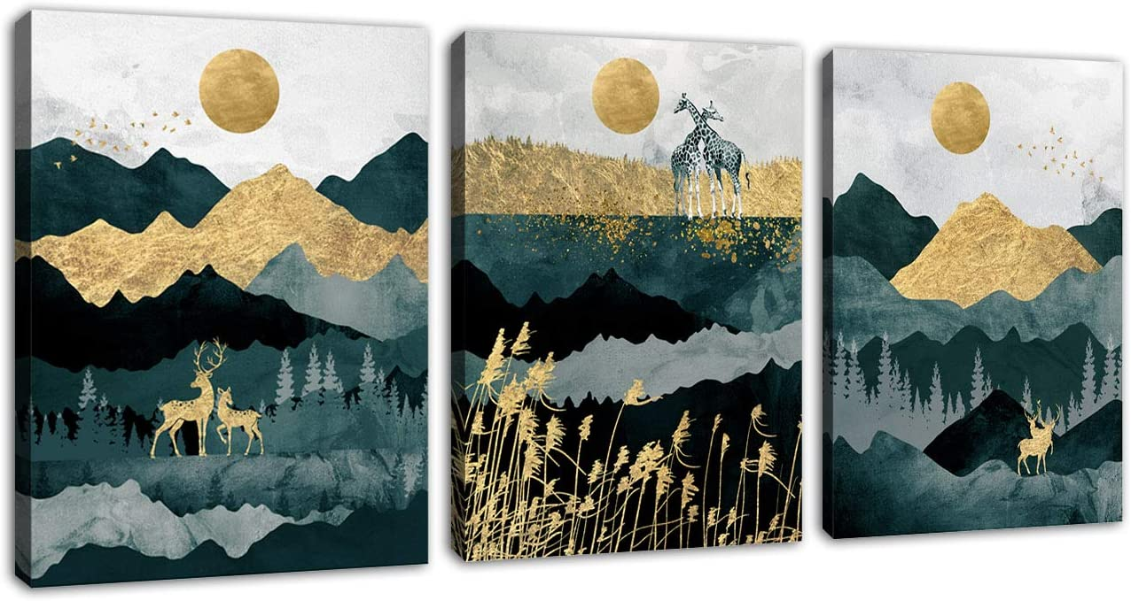 Abstract Wall Art Forest Mountain Canvas Wall Art for Bathroom Bedroom Nordic Style Modern Canvas Artwork Deer Giraffe Sunset Sunrise Canvas Pictures Daytime Framed Ready to Hang 12