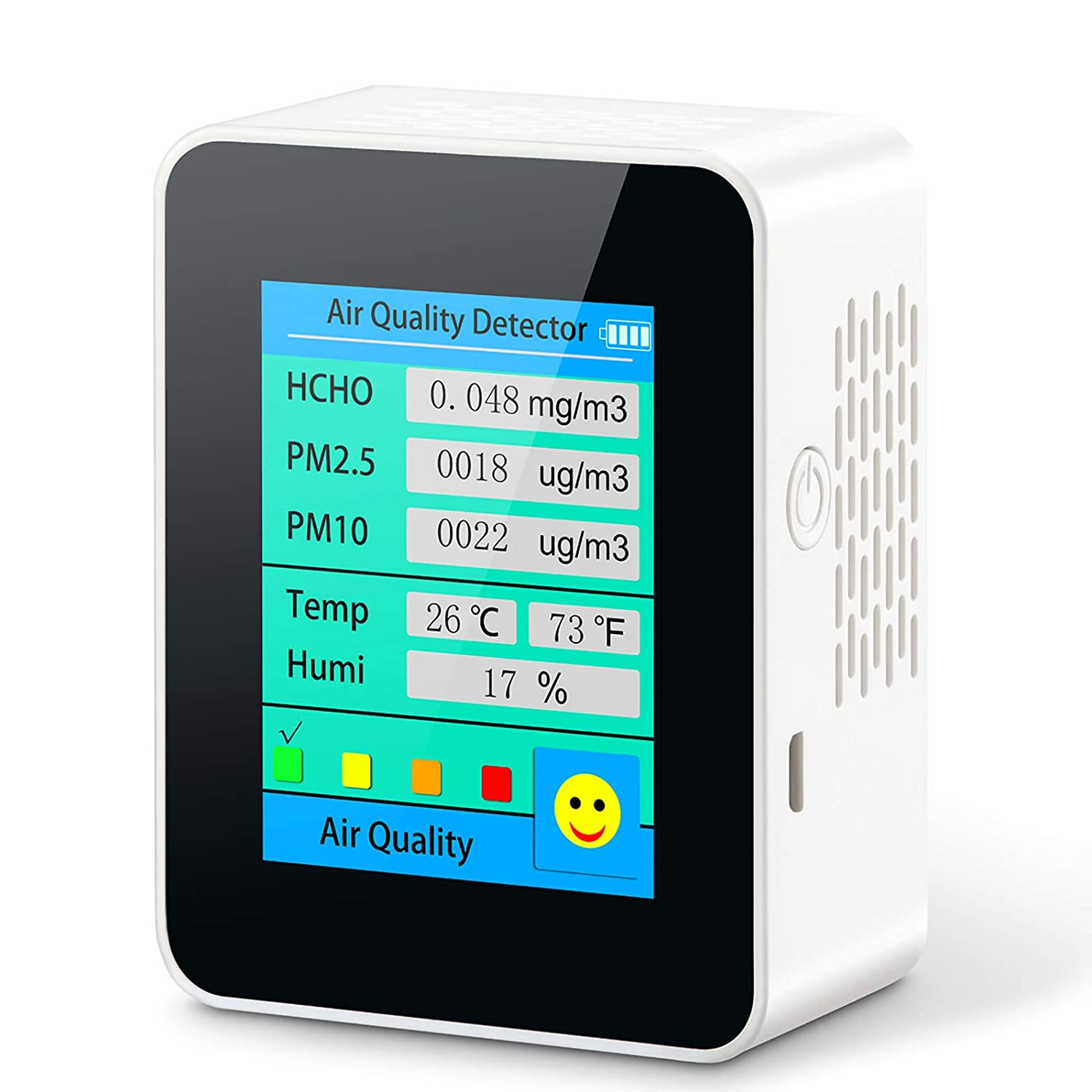 Air Quality Monitor Indoor for PM2.5/PM10 Formaldehyde Temperature and Humidity Professional Detector Real Time Display Air Quality Emoticons,Air Quality Tester for Home Offices and Various Occasions