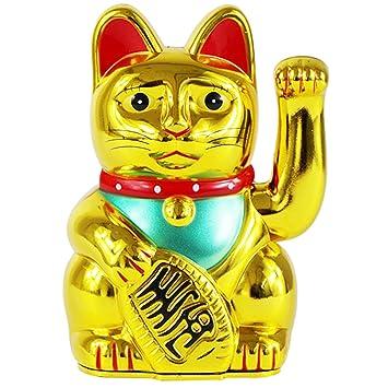 UOOOM - Gato de la Suerte de Maneki Neko Waving de 5 Pulgadas Feng Shui Fortune Money Cat para decoración del hogar del Coche, Dorado: Amazon.es: Hogar