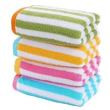 Juego de 4 toallas de baño rayadas de colores de la cara toallas de baño familia toallas 72x33cm: Amazon.es: Hogar
