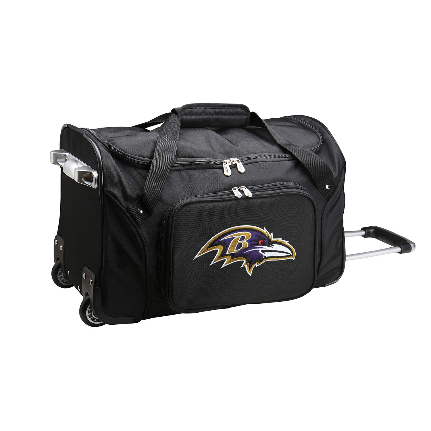 NFL Baltimore Ravens Wheeled Duffle Bag, 22 x 12 x 5.5, Black by Denco