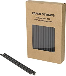 Black Paper Straws Plain Disposable Drinking Straws (black, 100)