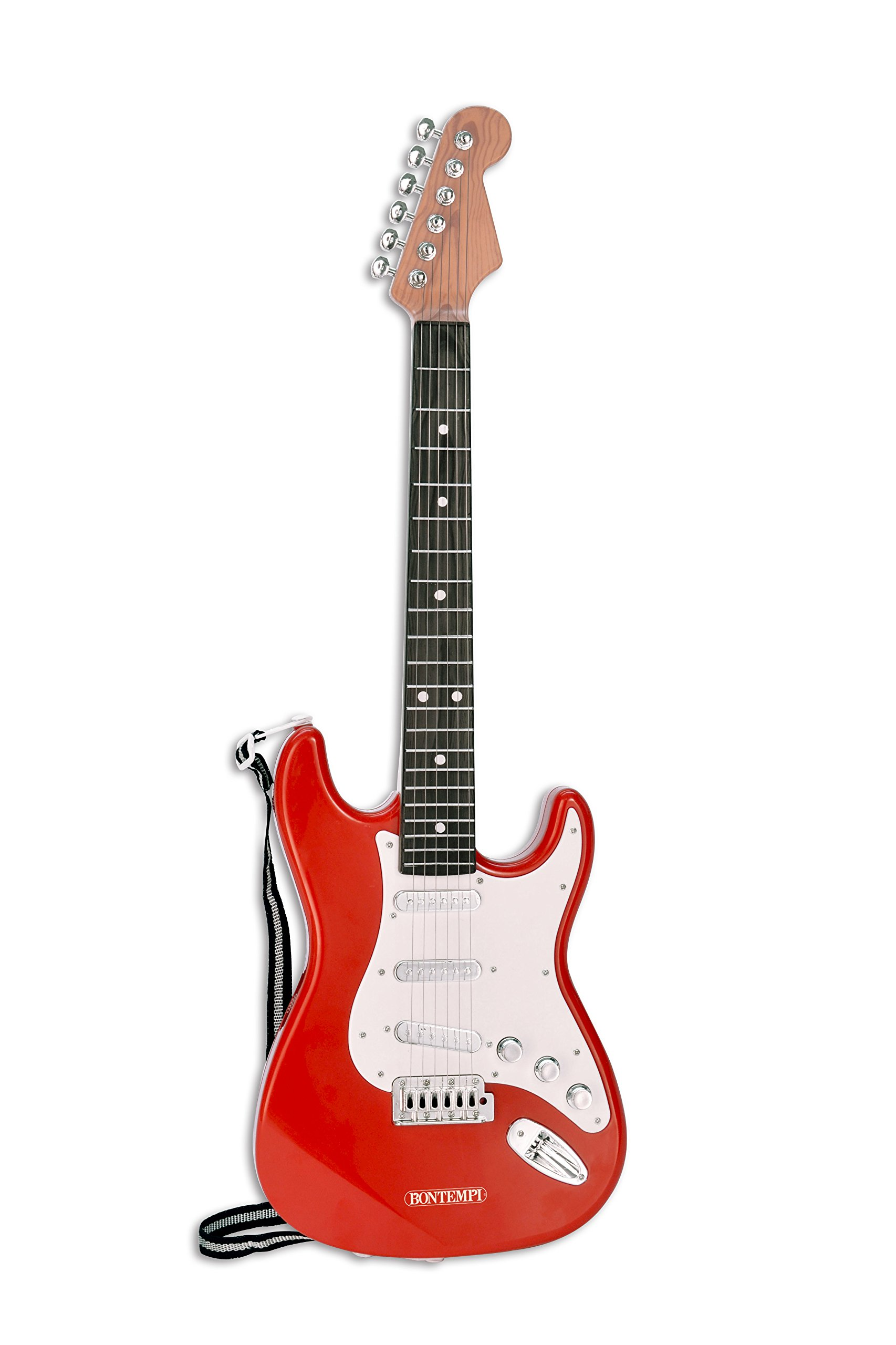 Bontempi 6 String Electric Guitar with pre-loaded songs & shoulder strap - Red