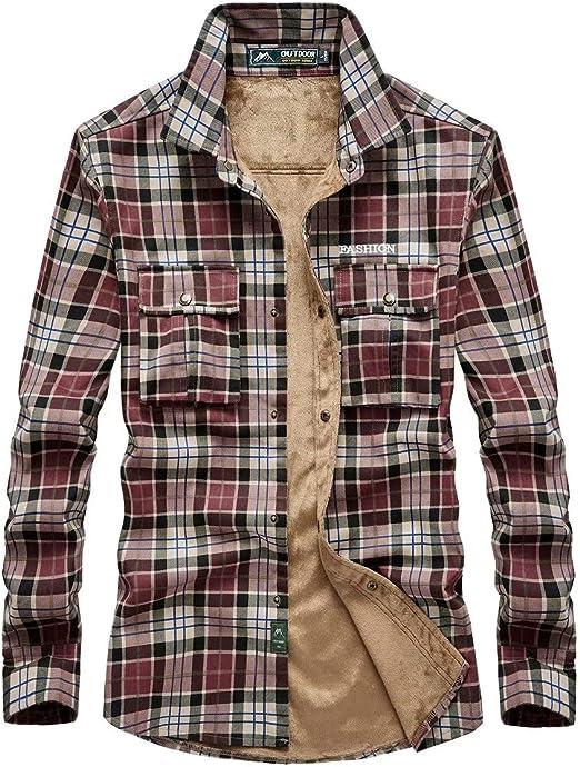 MILASIA Camisa de Franela cálida Forro Polar Casual Ajustado con Forro de Cuadros: Amazon.es: Hogar