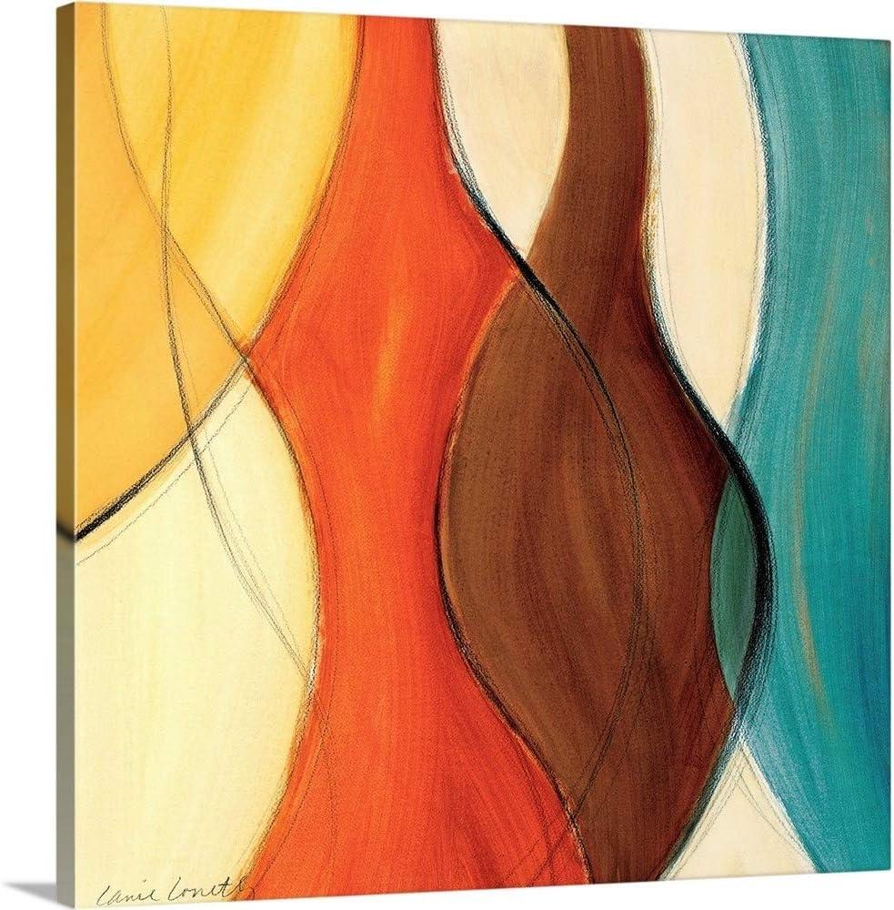 Amazon Com Coalescence Ii Brown Yellow Teal Canvas Wall Art Print 16 X16 X1 25 Posters Prints