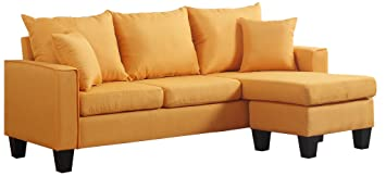 Review Divano Roma Furniture Modern Linen Fabric Small Space Sectional Sofa with Reversible Chaise (Yellow)