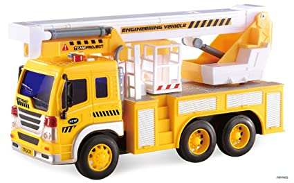 Memtes Friction Powered Hoist Bucket Construction Cherry Picker Lift Truck  Toy with Lights and Sounds for Kids