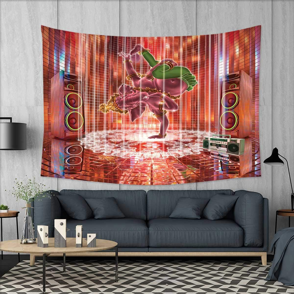 smallbeefly Animal Wall Hanging Tapestries Ethnic Elephant Dancing Rocking The Dance Floor with its Meditating Moves Print Large tablecloths 84''x54'' Multicolor