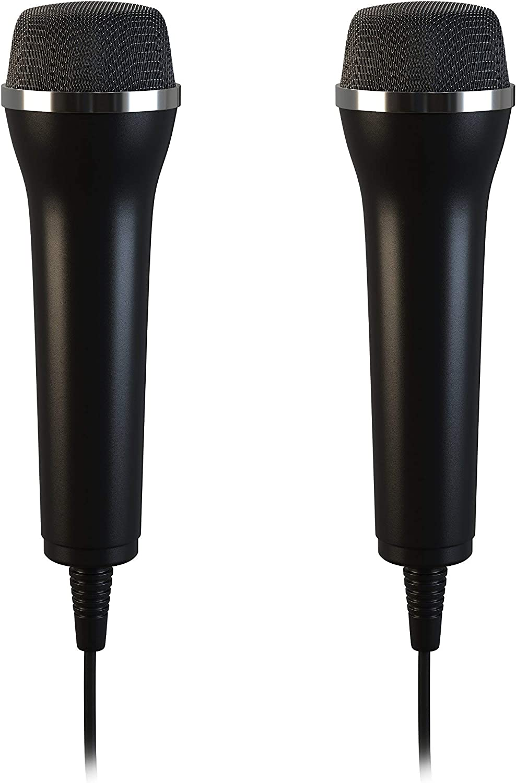 Lioncast 2x Micrófonos USB universal para ordenador y Karaoke; Compatible con juegos de Wii, PS3, PS4, Xbox One y PC como Guitar Hero, Rock Star, etc .; Cable de 2,5 m - Negro