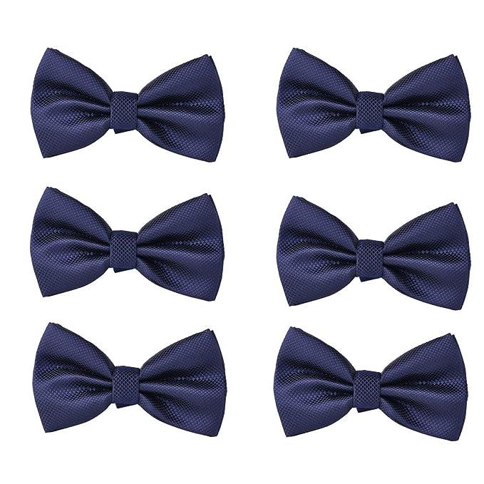 48c272cd4d88 Jeanger 6 Packs Shiny Solid Color Adjustable Grid Bow Ties for Men Boys  (JGT5010 Navy