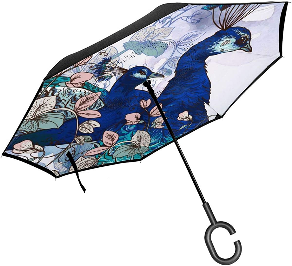 With Peacock Vector Image Reverse Umbrella Double Layer Inverted Umbrellas For Car Rain Outdoor With C-Shaped Handle Personalized