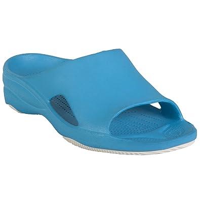 DAWGS Women's Premium Flip Flop,Navy/Lime Green,10 M US