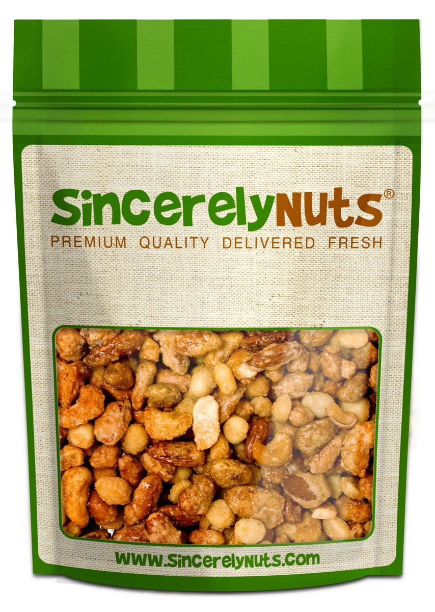 Sincerely Nuts Toffee Mixed Nuts - Two Lb. Bag - Almonds, Cashews, Pecan, Peanuts - Insanely Divine Taste- Sealed For Freshness- Full of Minerals & Vitamins Certified