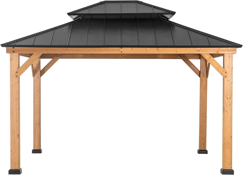 Amazon Com Sunjoy Bridgeport 11 X 13 Ft Cedar Framed Gazebo With Steel Hardtop Black Garden Outdoor