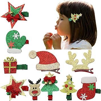 Christmas Hair Clips.Nancyus005 Christmas Hair Clip Accessories Bows For Girls And Santa Christmas Tree Socks Hair Bows