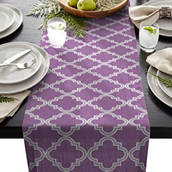 ad47e955f8cb Image Unavailable. Image not available for. Color  ARTSHOWING Purple White  Table Runner Party Supplies Fabric Decorations for Wedding Birthday Baby  Shower ...