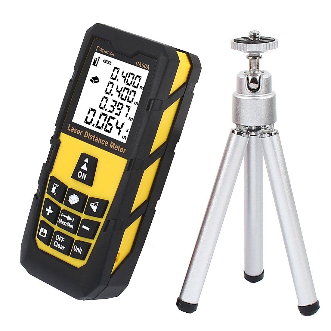 DMiotech Laser Distance Measure 196ft 60m Mini Handheld Digital Laser Distance Meter Rangefinder Measurer Tape Yellow with Tripod