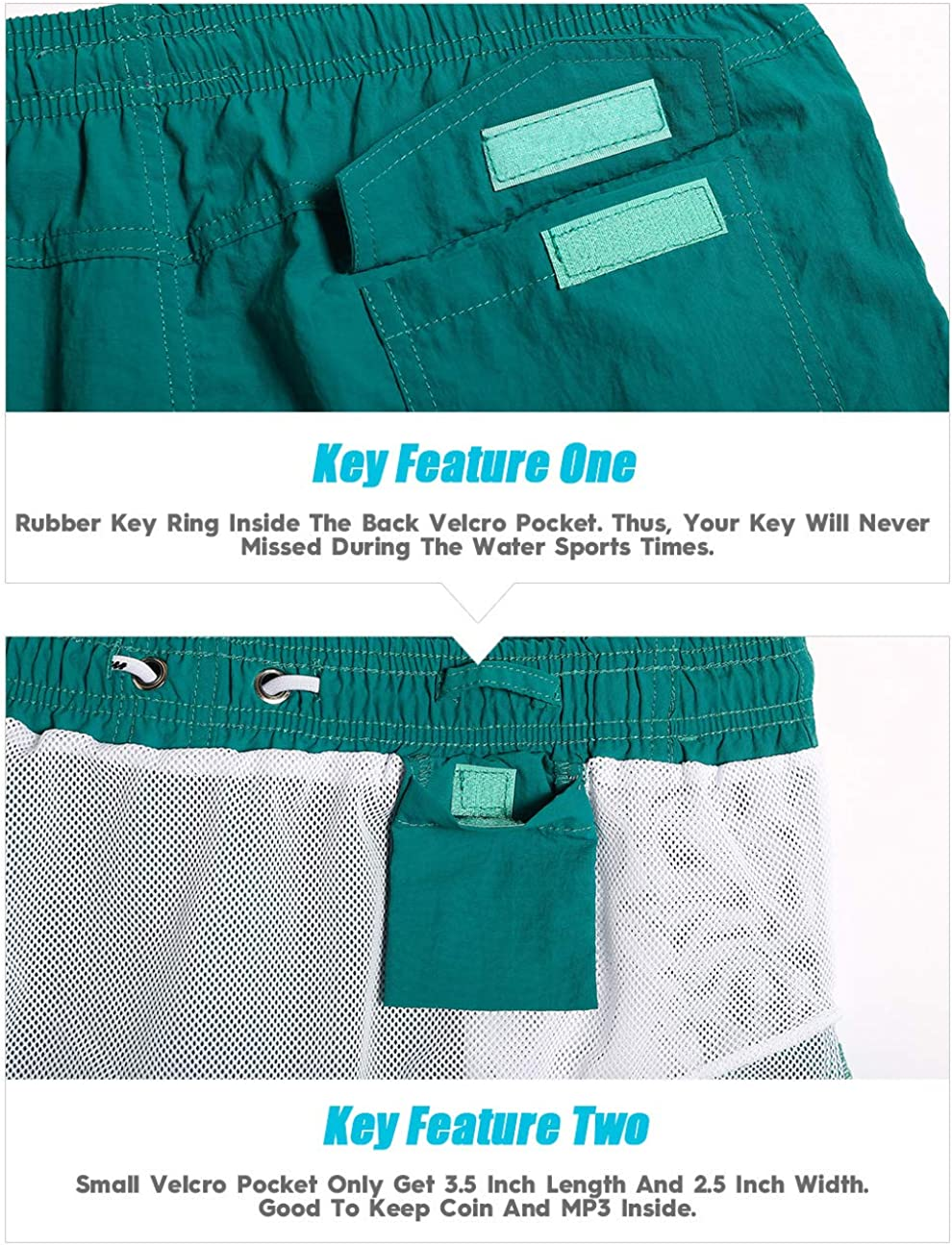MaaMgic Mens 5 Short Swim Trunks with Mesh Lining Quick Dry Bathing Suits Swimming Shorts Swimsuit