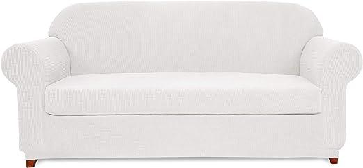Subrtex Spandex Stretch 2-Piece Slipcovers Chair, Off-White