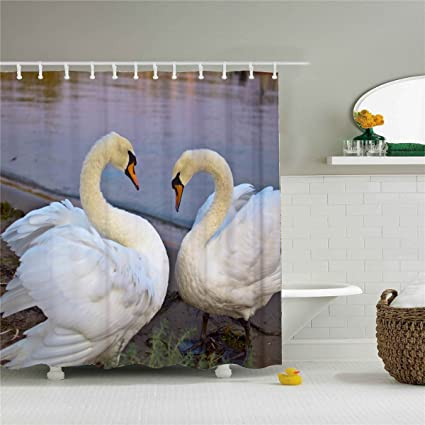 Amazon Swans Lake Animals Shower Curtain Polyester Anti