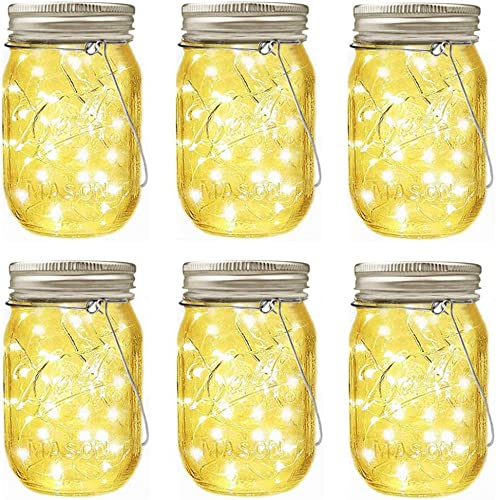 LiyuanQ Hanging Solar Mason Jar Lid Lights, 6 Pack LED String Fairy Lights Solar Lanterns Table Lights, 6 Hangers and Jars Included, Great Outdoor D cor for Lawn Patio Garden Yard Warm White