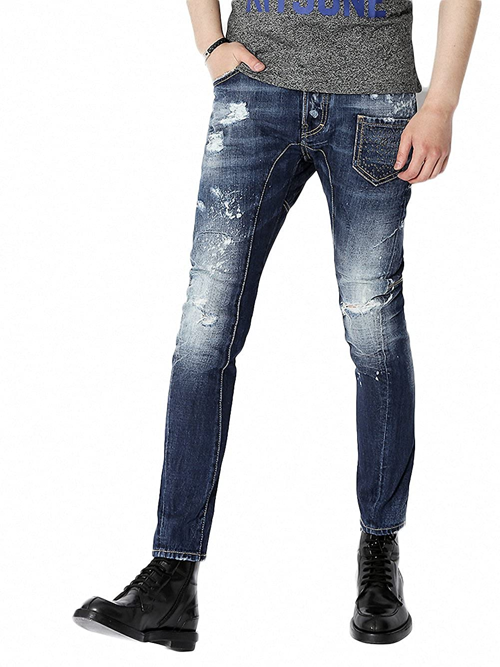 (ディースクエアード) DSQUARED2 Multi-stud front pocket Leather patch logo patch Man Jeans Leather (Tidy Biker fit) Man Jean 男性ジャン 74LA0787 S30309 470 (並行輸入品) B01GB75032   44, アステッドホーム:e4315a10 --- rakuten-apps.jp
