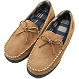 Liusuper Mens Moccasin Pile Lined Slippers Indoor Outdoor Anti-Slip Loafers Shoes