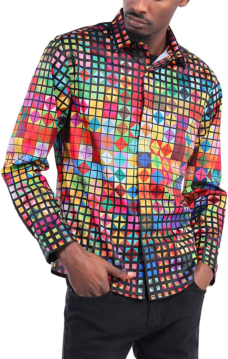 Boyland Mens 3D Shirt Slim Fit Arts Print Shirts Long Sleeve Colorful Disco Night Club